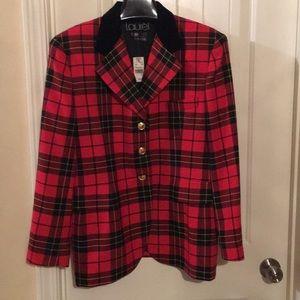 NWT Laurel Escada blazer bright red plaid jacket